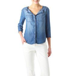 Chemise en jean chambray Femme jean moyen - Promod