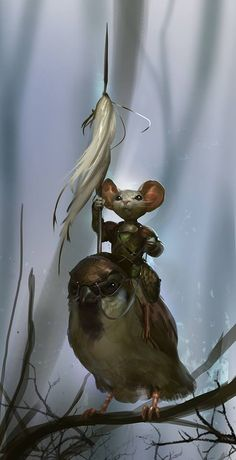 I just had to pin this!! Looks like a scene from Redwall that I remember reading to my brothers!!! Matthias and Warbeak!!