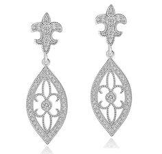 Fleur de Lis CZ Drop Earrings