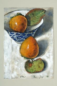 'Two Persimmons with Bowl' by thornton walker.