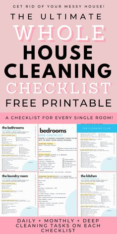The Best Whole House Cleaning Checklist Plus A Free Printable! House Cleaning Charts, Room Cleaning Tips, Household Cleaning Tips, Cleaning Hacks, Cleaning Schedules, Speed Cleaning, Household Checklist, Deep Cleaning Lists, Bathroom Cleaning Checklist