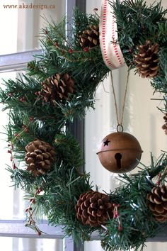 pine cone and rusty jingle bell wreath