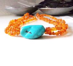 Jay King Turquoise Amber Necklace Sterling Silver Bead Mine Finds DTR 2 Strand #JayKingDTR