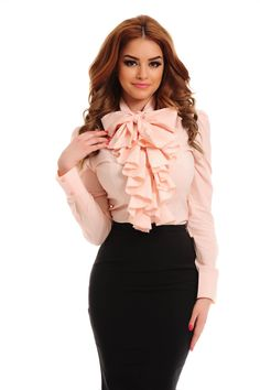 PrettyGirl Frill Guts Peach Shirt, women`s shirt, with ruffles on the chest, sleeves are fastened wi Frill Shirt, Ruffle Shirt, Bow Blouse, Blouse And Skirt, Bluse Outfit, Peach Shirt, Cute Blouses, Satin Blouses, Beautiful Blouses