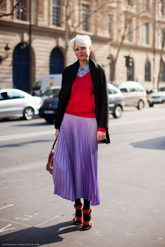 knife pleated purple ombre skirt