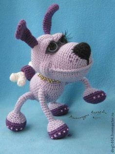 Мастер-класс по вязанию игрушки Песик Варфоломей - сиреневый,песик,игрушка ручной работы