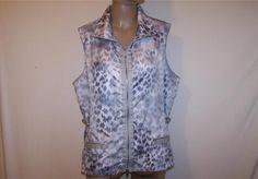 ZENERGY CHICOS Sz 3 Jacket Sleeveless Gray Animal Print Zip Up Vest L 16/18 #Chicos #Vest