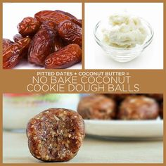 Pitted Dates + Coconut Butter = No Bake Coconut Cookie Dough Balls 34 Insanely Simple Two-Ingredient Recipes Coco Cookies, Oatmeal Cookies, Bar Cookies, No Bake Coconut Cookies, Cooking Forever, Good Food, Yummy Food, Weird Food, Crazy Food