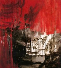 "Antoni Clavé Sanmartí (1813 - 2005). ""En noir et rouge, 1986"". Óleo sobre tela. 210 x 190 cm. Colección M. y Mme. Nobili. París. Francia."