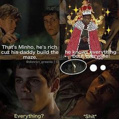 Haha! Thomas and Newt kissing, and Mihno finding out!