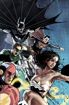 Justice League version 2 by benttibisson on DeviantArt Dc Heroes, Comic Book Heroes, Comic Books Art, Comic Art, Book Art, Im Batman, Superman, Justice League, Dc Comics Characters