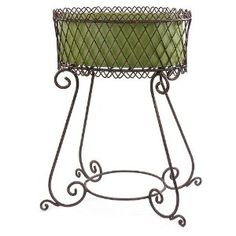 """34"""" wrought iron plant stand with scrolling legs"""