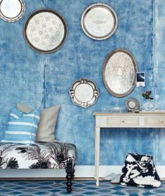 Silverplate platters divinely displayed on the wall from Dishfunctional Designs: How To Upcycle Thrift Shop Finds Into Trendy Home Decor Blue Rooms, Blue Walls, Indigo Walls, Thrift Shop Finds, Trendy Home Decor, My New Room, Shabby Chic Decor, Interiores Design, Home Organization