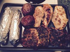 Grilled chicken, pork candy, corn Red potatoes