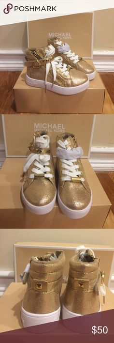 Michael Kors Toddler High Top Sneakers Coolest sneakers for your little fashionista. Brand new in box.  Velcro strap across top with pyramid studs and side zippers. Color is Lt Bronze. Purchased from Saks. Michael Kors Shoes
