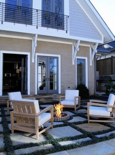 Gotta love an outdoor fire pit to sit around on a crisp Oregon night. We love this patio as well--such an easy renovation. Modern Landscape Design, Modern Landscaping, Backyard Landscaping, Backyard Ideas, 3d Landscape, Patio Ideas, Garden Ideas, Porches, Garden Fire Pit