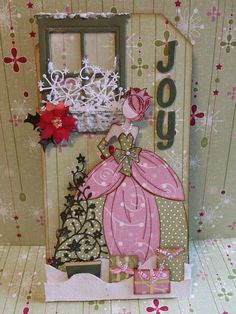 Christmas Tag Using The Julie Nutting Doll Stamp, Sizzix Window Box Die.