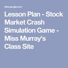 stock market crash simulation lesson plan