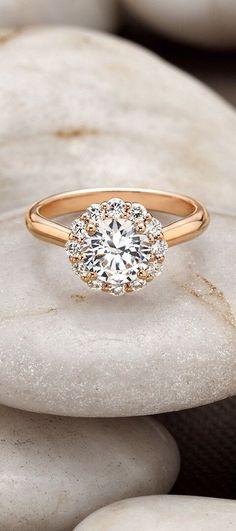 14K Rose Gold Lotus Flower Diamond Ring