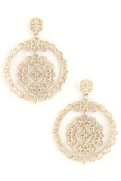 Filigree Dangle Earrings-Gold