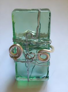 #Green #Glass #Tile #Ring #Wrapped in #Silver by Eldwenne on Etsy, $16.00 #etsy #handmade #jewelry #pagan #wiccan