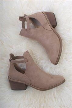 Portland Ankle Boot Tan: Faux suede tan ankle boot with side cut out and side snap closure. Almond toe. 2.5 inch heel