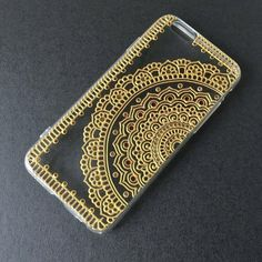 Items similar to Hand Painted iPhone 7 Case clear Gold Henna Mandala Phone Case iPhone 6 plus Samsung Galaxy LG Note 4 Sony Xperia Case Art Hand Drawn on Etsy - Sites new Henna Phone Case, Bling Phone Cases, Diy Phone Case, Iphone 6 Plus Case, Iphone Phone Cases, Phone Cover, Gold Henna, Mandala Artwork, Dot Art Painting