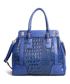 Another great find on #zulily! Blue Eloise Leather Tote by Segolene En Cuir #zulilyfinds