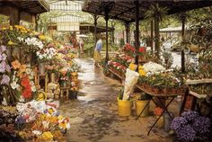 Clark Hulings Flower Market oil painting