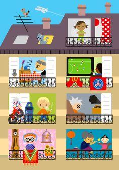 illustration jeunesse, belleville, paris, voisin, immeuble, maison, famille