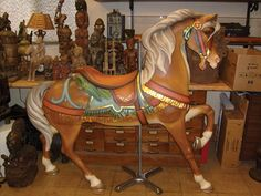 Antique FolkArt Carousel Horse PTC E Joy Morris Restored Double Parrot Saddle   eBay