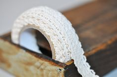 lace wedding tape (love this!) to decorate favors by shop k studio