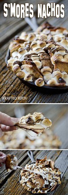 S'mores Nachos - My family doesn't like pita chips but graham crackers would be a-Mazing! Use Stacys cin/sugar pita chips Just Desserts, Delicious Desserts, Dessert Recipes, Yummy Food, Graham Crackers, Yummy Treats, Sweet Treats, Smores Dessert, Nachos