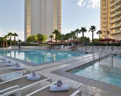 The pool deck at the MGM Grand's Signature hotel #Vegas