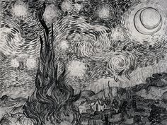 The Starry Night - Vincent van Gogh  ink on paper