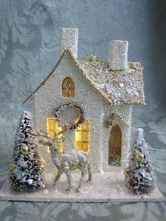Vintage Style Putz Lighted Glitter House Bottle Brush Trees Reindeer Christmas