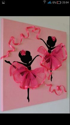 DIY Tutu Ballerina Canvas Wall Art Tutorial, with ribbons, canvas, and a ballerina template. great for girl room decoration or gift delivery Diy And Crafts, Crafts For Kids, Arts And Crafts, Paper Crafts, Summer Crafts, Art Mural Rose, Art Projects, Projects To Try, Simple Projects