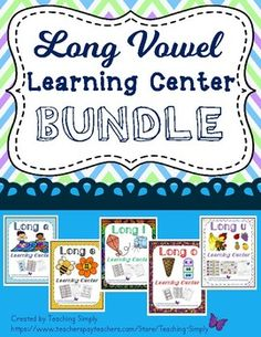 Find all five of my long vowel literacy centers in this bundle! Print, laminate, and cut out for great centers that can be used as review throughout the year. There are several follow up practice pages and a game for each vowel. #LongVowels #LiteracyCenter #VowelTeams #Phonics