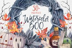WATERCOLOR BOO Halloween set By Lemaris