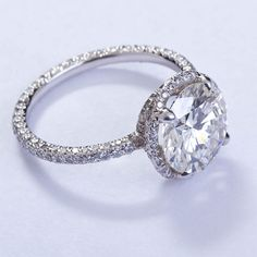 FRED LEIGHTON Micro Pave 3 carat Diamond Solitare | Absolutely love this ring.
