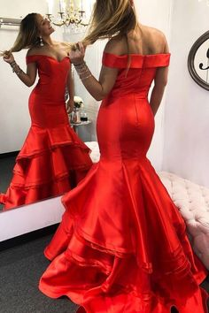Charming Off the Shoulder Red Mermaid Evening Dress, Formal Long Prom Dress, Women Dress  by fancygirldress, $162.00 USD