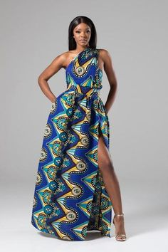 LORENA African Print Blue Multiway Maxi Dress Source by tumiphorosi African Maxi Dresses, African Dresses For Women, African Attire, African Wear, African Style, African Clothes, African Women, Ankara Gown Styles, African Traditional Dresses