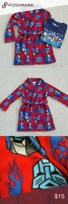 Boys Transformers Shirt & Robe Good condition boys fleece Transformers robe in XS, like a 4/5, some pilling but not too bad (I think the close up exaggerates it a bit.) Navy Transformers tshirt shows little wear. Labeled size 4, but fits more like a 5/6. Shirts & Tops Tees - Short Sleeve