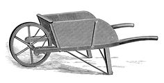 Vintage Clip Art - Old Fashioned Wooden Wheelbarrow