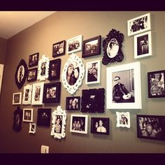 wall decor, photo collage- wall next to book shelves