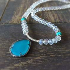 Turquoise Necklace  Crystal Jewelry  Statement  by jewelrybycarmal