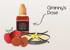 e-liquide Granny's Dose de la gamme Addiction par EspaceVap', la tarte aux pommes crues et cuites  de grand-mère complétée d'une délicate crème vanille.