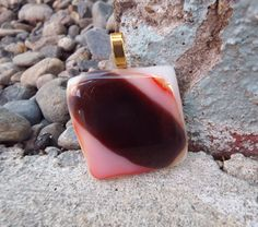 Purple and Orange Fused Glass Pendant Necklace от FancyThatFusion