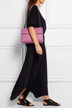 Purple leather (Lamb) Snap-fastening front flap Designer color: Peony Comes with dust bag Made in Italy. $2980