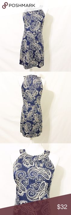 """Ann Taylor LOFT Blue Paisley Sleeveless Dress Ann Taylor Loft Casual blue dress in a paisley print. Sleeveless. Fully lined. Materials: Shell  100% Cotton. Lining 100% Acetate.  Size 2  Approximate Measurements (laid flat) Armpit to armpit 16-16.5"""" Waist 16"""" Hips 17.5"""" Length 32-33""""    Condition Excellent pre-owned condition. No flaws noted. LOFT Dresses"""